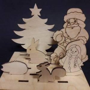 """Набор на подставке """"Дед Мороз и зверюшки"""""""