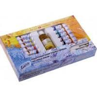Набір олійних фарб  Ладога 12 кольорів, 18 мл+олія лляна+пензлі